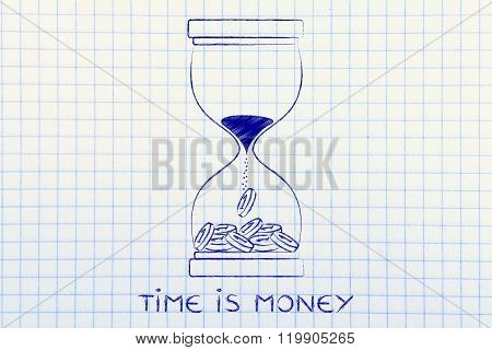 Hourglass With Sand Turning Into Coins, Time Is Money