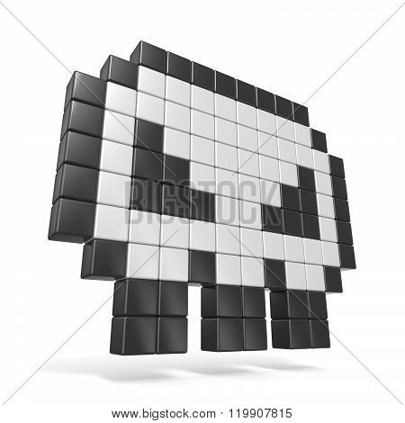 Pixelated 8bit skull icon. Side view. 3D