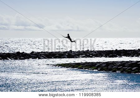 Kite Surfing  In Puertito De Guimar In Tenerife, Canary Islands, Spain