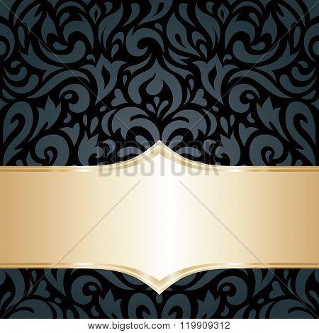 Floral Black & gold luxury retro background