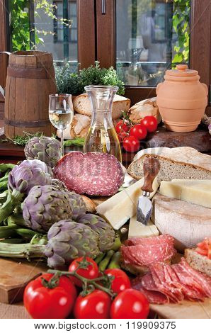 Food Cousine Composition Ingredient For Eating Composition Salami, Bread And Wine