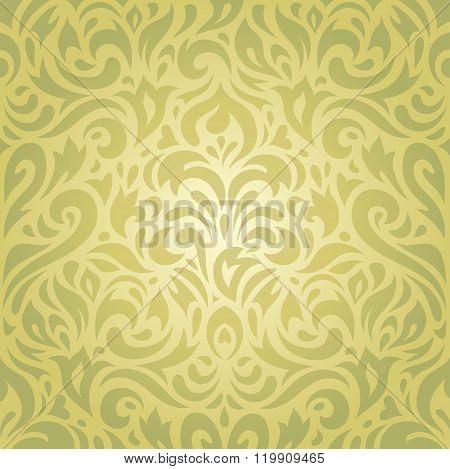 Floral green vintage retro vector background