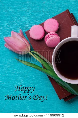 Tag Happy Mother's Day With Pink Tulip, A Cup Of Coffee