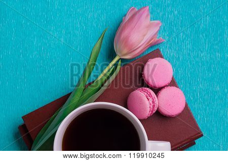 Pink Tulip, A Cup Of Coffee, Books And Three Pink Macaroons
