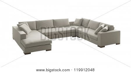 white suede family - size couch isolated on white