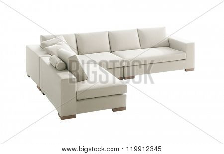 family - size white suede couch isolated on white