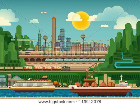 Illustration of mega city. Vector illustration.