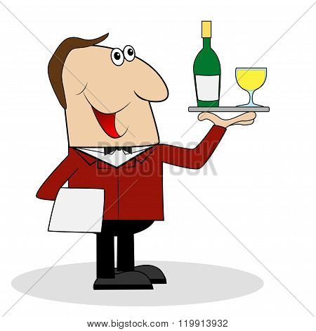 Male Waiter With A Bottle And A Glass Of Wine