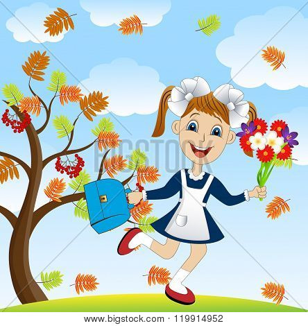 Cheerful Girl With A Bouquet Of Flowers Around The Rowan Tree