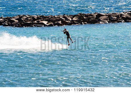 Puerto de Guimar , Tenerife, Spain  - December 27, 2015: Kite surfing  in Puertito de Guimar, Tenerife, Canary Islands, Spain