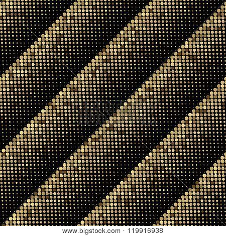 Gold vector abstract background. Gold shimmer background. Gold mosaic background. Sparkling gold sequins on a black background. Gold round pixels in halftone strip on black background