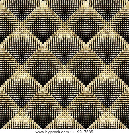 Gold vector abstract background. Gold shimmer background. Gold mosaic background. Sparkling gold sequins on a black background. Gold round pixels in square on black background