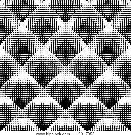 Vector Seamless Black And White Stippling Rhombus Gradient Halftone Circle Dot Work Pattern Abstract Background