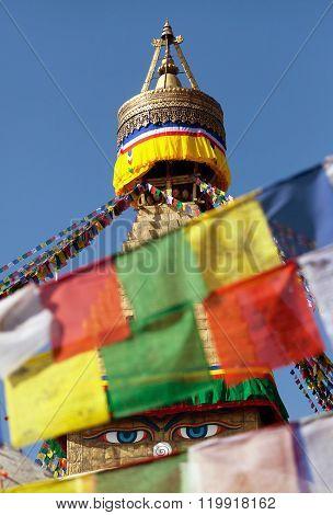 Prayer Flags And Bodhnath Stupa In Kathmandu, Nepal
