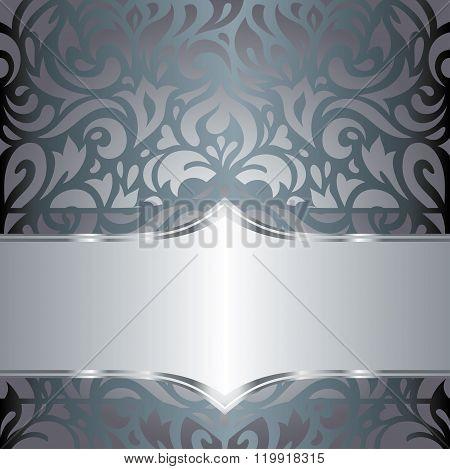 Silver floral luxury vintage invitation retro design vector