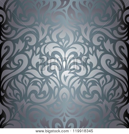 Silver floral luxury vintage background design