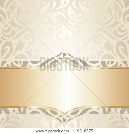 Wedding vintage design white & gold vector