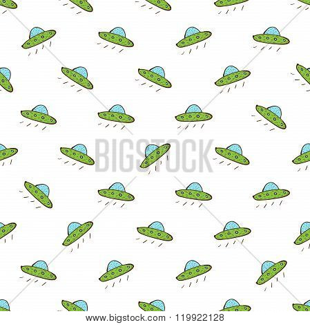 Flying Saucer Seamless Pattern