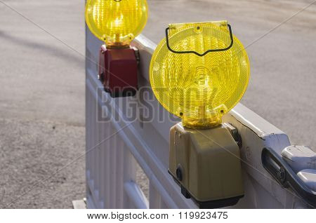 Signal lights on the fence.