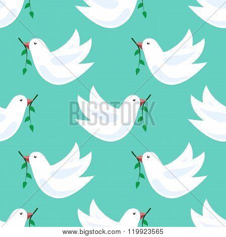 White Doves Seamless Pattern