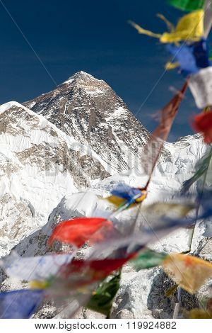 Mount Everest With Buddhist Prayer Flags