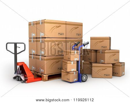 The Concept Of Delivery, Hand Truck And Hand Truck Loaded Pallet Boxes Are Isolated On A White