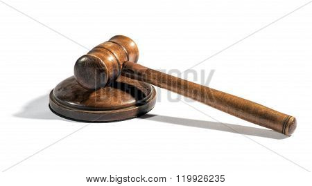 Old Wooden Judges Gavel On A Plinth