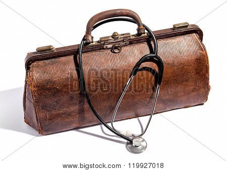 Old Battered Leather Doctors Bag And Stethoscope