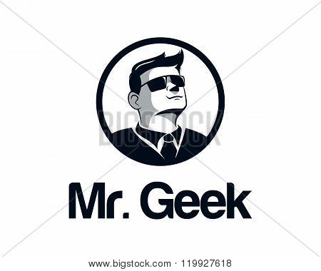 Geek Business Man Logo Design Vector. Face Illustration Vector With Glasses. Hipster Mustache Illust