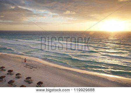 Sunrise On The Beach In Cancun, Mexico