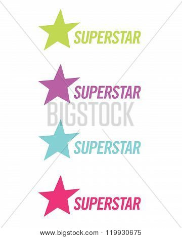 A collection of vector superstar icons in various colours