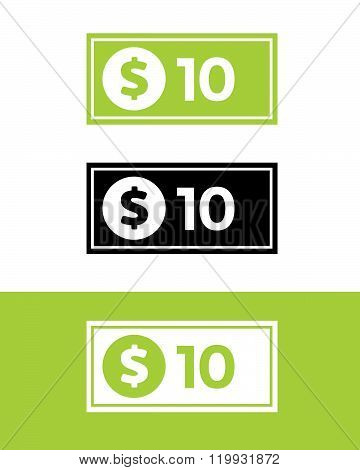Vector Ten Dollar Bill Set in Color, Black and Reverse