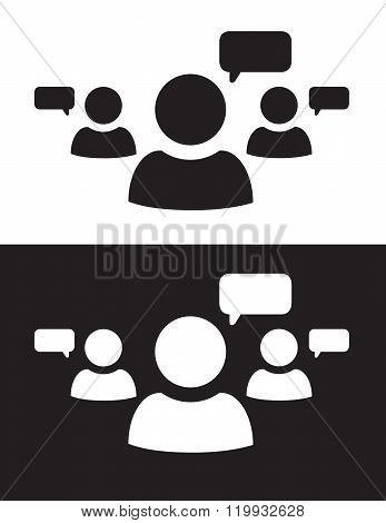 Vector Multiple User Speech Icon in Black and Reverse