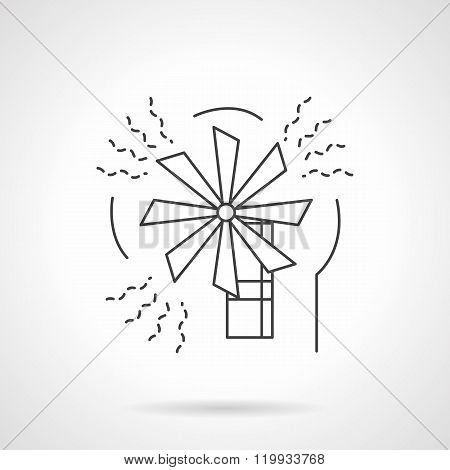 Wind energy flat line design vector icon
