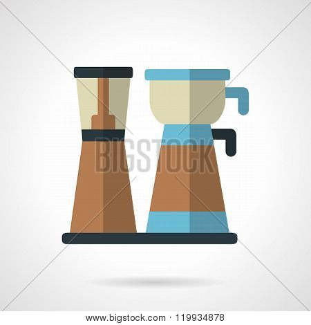 Coffee maker flat color design vector icon