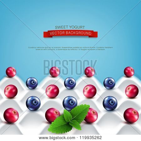 vector  template:  wave yogurt with berries (cranberries, blueberries) and mint leaves on a blue background