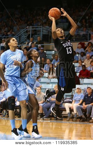 CHAPEL HILL, NC-FEB 28: Duke Blue Devils guard Crystal Primm (13) dribbles against the University of North Carolina Tar Heels on February 28, 2016 at Carmichael Arena in Chapel Hill, North Carolina.
