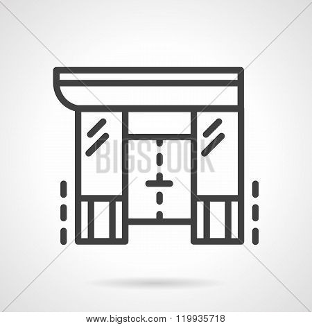 Shopping center black line design vector icon