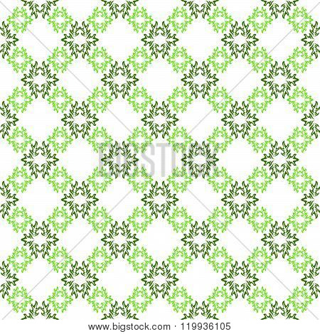 Vector Seamless Background. White Wallpaper With Green Pattern