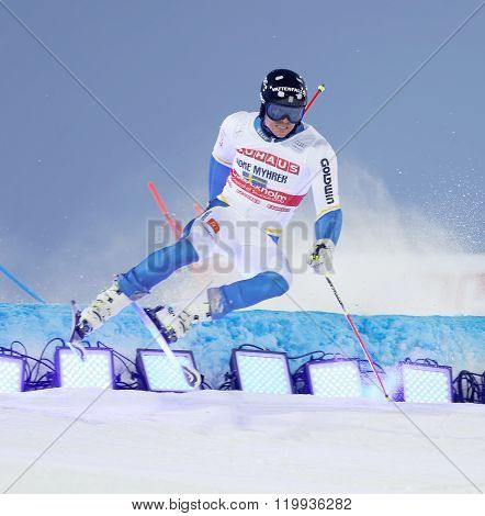 Andre Myhrer Jumping At A Slalom Event