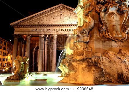 Pantheon in Rome, Italy - night scene