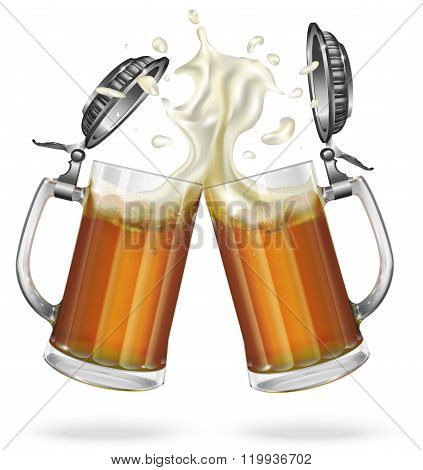 Two mugs with cap with ale, light or dark beer. Mug with cap with beer. Vector