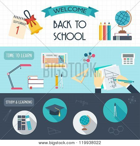 Horizontal Banners With School And Education Icons. Back To School. Flat Design. Vector