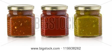 the various barbecue sauces in glass bottles with clipping path