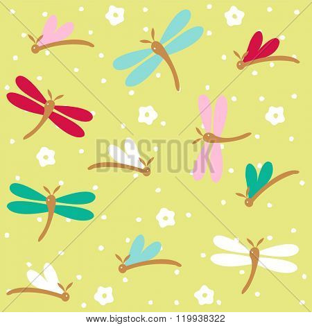 Hand drawn dragonflies seamless pattern