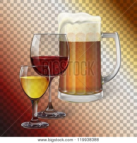 Cocktail glass, wine glass, mug with beer