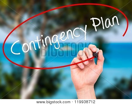 Man Hand Writing Contingency Plan With Black Marker On Visual Screen.