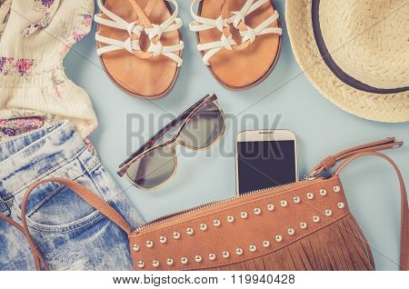 Hipster woman clothes