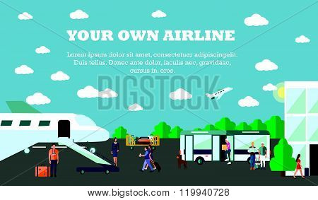 Mode of Transport concept vector illustration. Airport banner. Design elements in flat style. City t