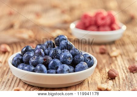 Super Food Breakfast With Bilberries, Nuts And Rapsberries
